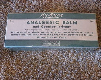 Vintage Analgesic Balm Hy Pure New in Unopened Package Collectible CL3-21