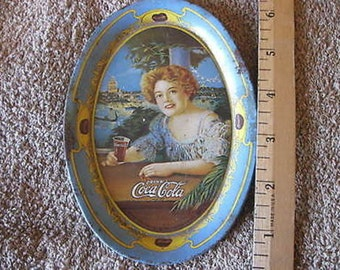 "Oval Coca Cola 1973 Change Tray Vintage Lady 6"" x 4 1/4""  CL5-11"