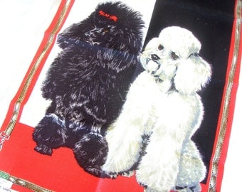 Vintage Op Art BLACK WHITE StANDARD POODLE Dog Irish Linen TeA Towel Red Leash Wall Hanging MiNT w PaPER LaBEL Ulster Pristine NeW OLd SToCK
