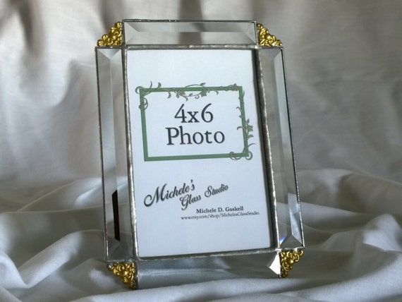 clear beveled glass picture frame 4x6 made by