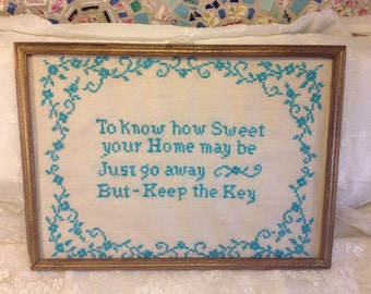 Vintage Turquoise Cross Stitch Needlepoint Home Sweet Home