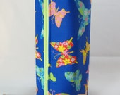 Bright Blue and Multi Neon Butterflies Long Zippered Box Tote - knitting / crochet / spinning / drop spindle project bag
