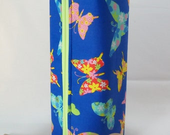 SALE Bright Blue and Multi Neon Butterflies Long Zippered Box Tote - knitting / crochet / spinning / drop spindle project bag