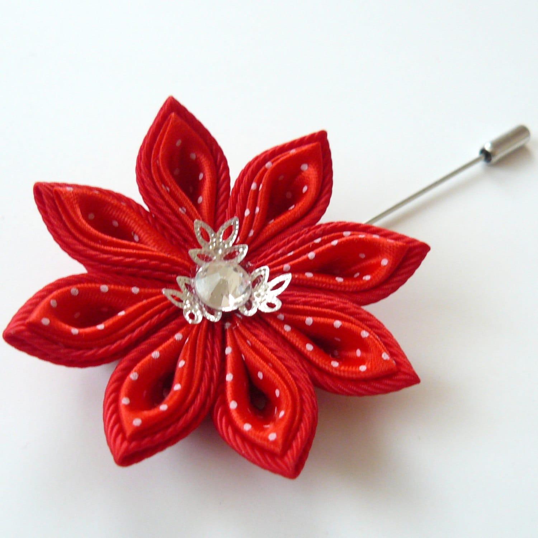 Kanzashi fabric flower brooch . Red kanzashi flower lapel