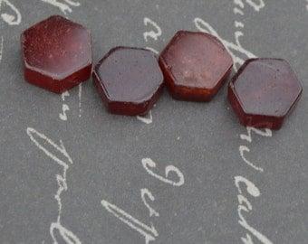 red glass hexagon 15x6