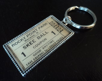 Rocky Point Park Skee Ball ticket keychain