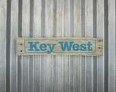 "Key West Sign in Island Blue - 19"" x 4"" - Rustic Wooden City Sign"