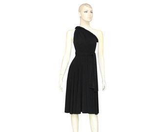Convertible black bridesmaid dress Short twist wrap infinity dress