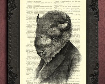 buffalo art print bison illustration buffalo print buy 2 get 1 free