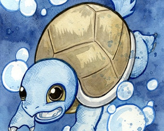 Squirtle, Pokemon, Original Watercolor Painting
