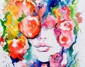 La Vie en Rose Print from Original Watercolor - Watercolor Fashion Illustration by Lana Moes