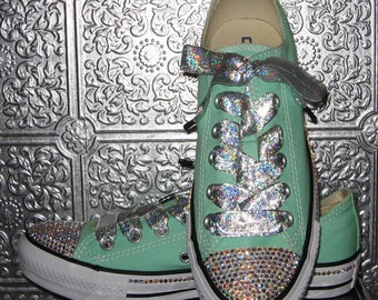 mint converse all star sneakers with crystal AB rhinestones and ribbon laces