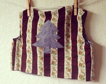 Girls Hippie Vintage Tree Patch Flower Striped Boho Fall Holiday Vest