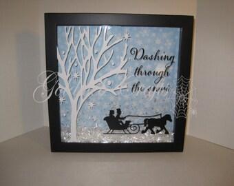 Christmas Shadow Box - Dashing Through The Snow Decorative Shadow Box