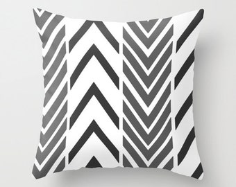 Black Arrow Pillow -  Pillow Cover Includes Pillow Insert - Sofa Pillow Cover - Black White Arrow Art - Throw Pillow - Made to Order