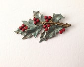 Vintage Christmas Holly Pin with Green leaves and Red Berries