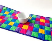 Quilted Table Runner, Primary colors, Handmade Runner, Handmade Linens, Patchwork Quilt, Quilted Runner