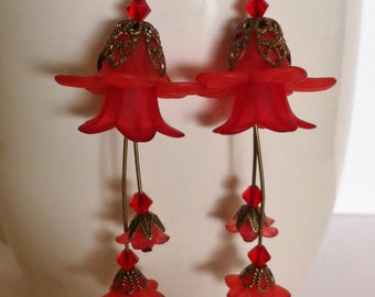 Red lucite flower earrings   swarovski crystals brass accents jewelry, silver griffon designs
