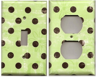 Distressed Lime Green & Black Polka Dots w/ Flowers Light Switchplates and Wall Outlet Covers Home Decor Accents Decora Light Switch Plates