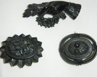 Lot of Victorian Mourning Jewelry Brooches Gutta Percha