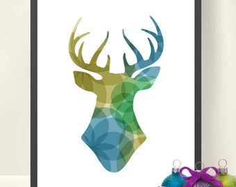 Winter Stag head Printable, Instant Download