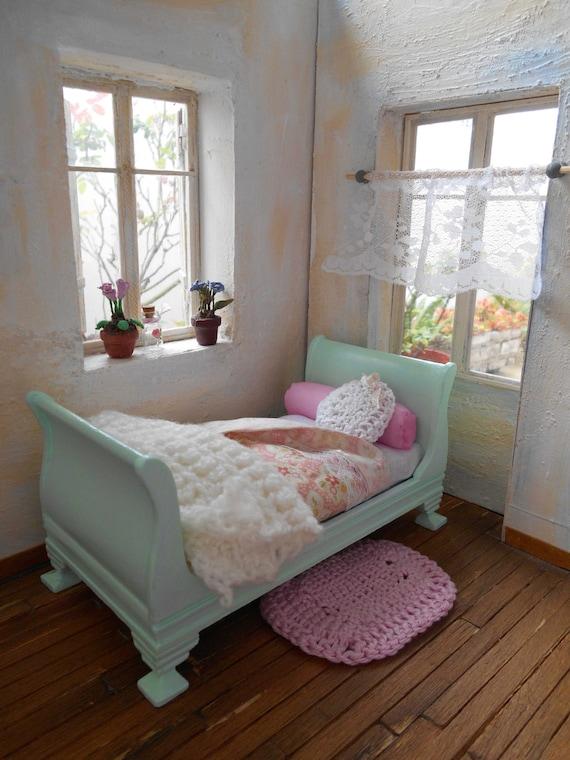 1/12 sleigh bed shabby chic style cottageelartedeangelina