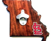 "Handcrafted Missouri Bottle opener by ""Drink Local""."