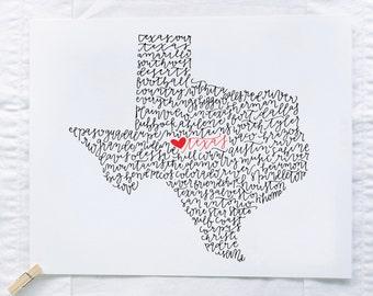 Texas Illustration Print