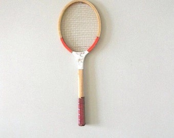 vintage red tennis racquet