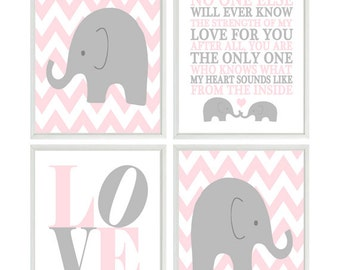Baby Girl Nursery Wall Art, Elephant Nursery, No One Else Will Ever Know Quote, Chevron Print, Love Print, Pink Gray Decor, Mother Baby Art