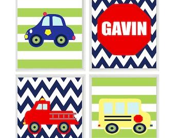 Big Boy Room Decor, Fire truck Wall Art, Police Car, Personalized Art, Toddler Boy Room, Boy Nursery, School Bus Art, Chevron Print, Stripes
