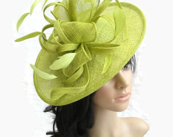 Lime Fascinator..Stunning shaped Lime Sinamay Fascinator Hat on a Headband