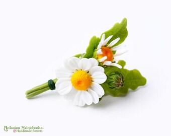 Brooch Daisy Camomile - Polymer Clay Flowers