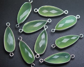 925 Sterling Silver PREHNITE Chalcedony Faceted Pear Shape Pendant,5 Piece of  26mm
