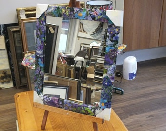 Hand Finished Floral Decoupage Framed Mirror