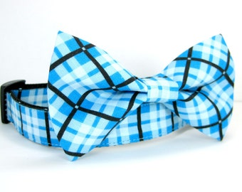 Bow tie Dog Collar-Blue Plaid Dog Collar with bow tie set(Mini,X-Small,Small,Medium ,Large or X-Large Size)- Adjustable