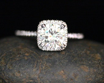 Diamond Halo Moissanite Engagement Ring Forever Classic Moissanite Cushion 8mm and Diamonds in 14k White Gold Ring