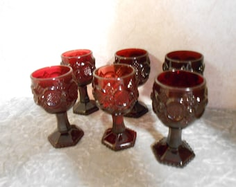 Set of Six Avon Cape Cod Ruby Red Wine Goblets