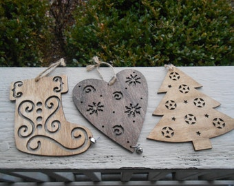 Set of 3 Ornaments, Laser Cut. Tree, Stocking, Heart. Christmas, Holiday Decoration. Rustic. 5.5 Inch