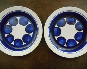 Swedish Vintage plate Rorstrand Colette Handpainted white blue floral plate Mid century Scandinavian plate