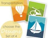 Transportation Art Prints Set of 4 - CHOOSE IMAGES & COLORS - Aviation Decor, Car Themed Nursery, Playroom Decor, Ombre Art, Kids Wall Art