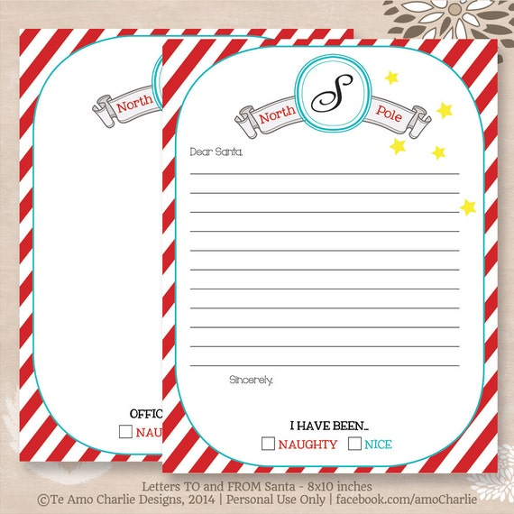 A Letter To Santa Template: Items Similar To Letter To Santa And Letter From Santa