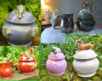 Sugar box / milk pitcher or a set with any dog by pic/ Irish wolfhound/French bulldog/ mix dog/Sloughi