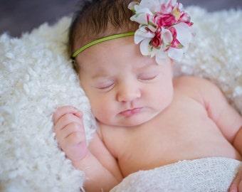 Baby Headband.Flower Headband.Baby Girl Headband.Chiffon Baby Headband.Infant Headband.Newborn Headband.Shabby Chic Headband.Spring Headband