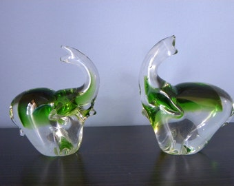 Vintage Green Murano Glass Elephant Figurines