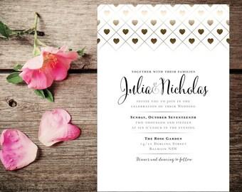 Wedding Invite – Gold Hearts Printable Wedding Invitation Suite