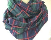 RESERVED FOR SUSAN***Green, navy, red plaid flannel infinity scarf,