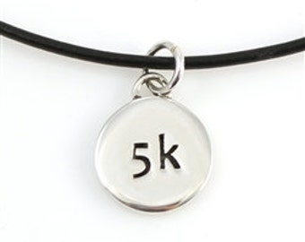 Sterling Silver and Leather 5K Running Necklace, Unique Charm Necklace Gift for a Runner, Marathon Jewerly on a Black Leather Necklace Cord