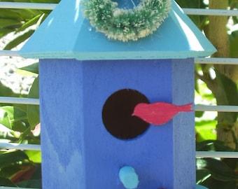 Hexagon Bird House Ornament Light Blue Roof/Periwinkle House (25)