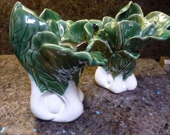 Majolica Leeks Onions Set Of 2 Vases